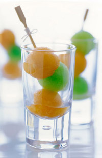cocktail party food - fruit skewers