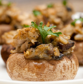 cocktail party food - stuffed mushrooms